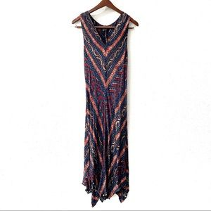 Lauren Ralph Lauren Printed V-Neck Maxi Dress L